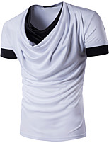 Men's Casual/Daily Street chic T-shirt,Color Block Round Neck Short Sleeve Polyester
