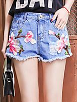 Feminino Cintura Média Micro-Elástico Jeans Calças,Reto Estampado,Bordado