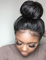 Бразильские прямые шелковые верхние полные парики шнурка с естественной волосяной повязкой для черных женщин с волосами младенца 130%