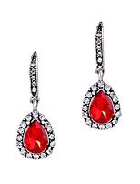 Boucles d'oreille gitane Cristal Personnalisé euroaméricains Simple Style Rouge Bijoux Pour Mariage Soirée Anniversaire 1 paire