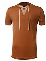 Herren Solide Retro Einfach Lässig/Alltäglich T-shirt,Rundhalsausschnitt Sommer Kurzarm Baumwolle Mittel