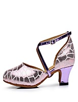 Non Customizable Women's Latin Leather Heels Indoor Buckle Cuban Heel Purple 2