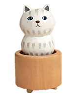 Music Box Cat Holiday Supplies Wood Rubber Unisex