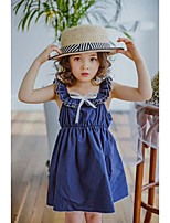 Girl's Solid Color Lattice Dress,Cotton Summer Sleeveless