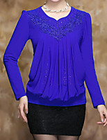 Women's Casual/Daily Simple Blouse,Solid V Neck Long Sleeve Polyester Thin