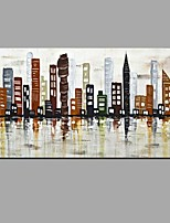 Hand Painted Oil Painting Abstract London Night Scenery Wall Art with Stretched Framed Ready to Hang