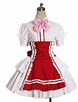 One-Piece/Dress Maid Suits Sweet Lolita Rococo Cosplay Lolita Dress Solid Color Short Sleeve Knee-length Dress Apron Petticoat ForPadded
