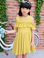 Vestido Chica de Casual/Diario Playa Vacaciones Un Color Algodón Manga Corta Verano