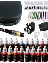Solong tatuagem permanente maquiagem kit tatuagem caneta sobrancelha lábio máquina conjunto 23 tintas de maquiagem ek708-1