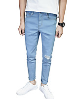 Men's Mid Rise Micro-elastic Jeans PantsSimple Slim Solid ACD-A161