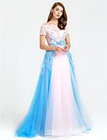 TS Couture Evento Formal Vestido - Transparente Color Block Linha A Ombro a Ombro Cauda Catedral Tule com Miçangas Lantejoulas
