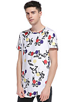 Men's Going out Casual/Daily Club Simple Street chic Active T-shirt,Print Round Neck Short Sleeve Cotton Polyester
