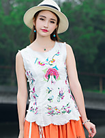 Women's Casual/Daily Cute Chinoiserie Tank Top,Floral Round Neck Sleeveless Cotton Linen