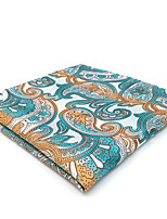 CH4 Men's Pocket Square Handkerchiefs Blue Orange White Paisley 100% Silk Business New Jacquard Woven