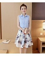 Women's Going out Casual/Daily Holiday Cute Shirt Skirt Suits,Print Stand Sleeveless