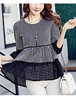 Women's Going out Vintage Shirt,Striped Round Neck ¾ Sleeve Polyester