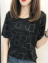 Women's Casual/Daily Simple Spring Summer T-shirt,Solid Print Round Neck Short Sleeve Polyester Medium