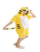 Kigurumi Pajamas Tiger Leotard/Onesie Festival/Holiday Animal Sleepwear Halloween Yellow Solid Cotton Cosplay Costumes Kigurumi ForUnisex