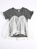 Casual/Daily Striped Tee,Cotton Summer Short Sleeve