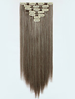 7pcs/Set 130g Medium Brown Straight 50cm Hair Extension Clip In Synthetic Hair Extensions