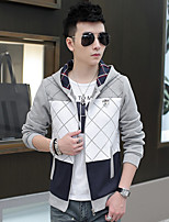 Men's Casual/Daily Simple Hoodie Striped Round Neck Micro-elastic Cotton Long Sleeve Spring Fall