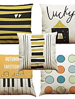 Set of 5 Geometric Keys Pattern  Linen Pillowcase Sofa Home Decor Cushion Cover (18*18inch)