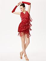 Latin Dance Outfits Women's Performance Chinlon Tassel(s) 3 Pieces Sleeveless High Gloves Dress
