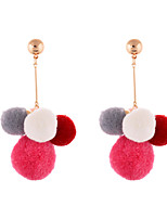 Lureme Lovely 5-Tone Multi Color Gold Post Pom Pom Earrings for Women and Girls