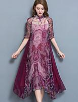Ample Robe Femme Sortie Grandes Tailles Vintage,Imprimé Mao Asymétrique Manches Courtes Nylon Eté Taille Normale Micro-élastique Moyen