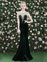 Formal Evening Dress - Sexy Elegant Trumpet / Mermaid Jewel Floor-length Satin Tulle Velvet with Crystal Detailing Tassel(s)