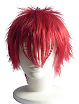 Short Curly Wig Red Color Synthetic Wig  12inch Anime Cosplay Wig Hairstyle