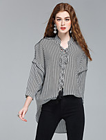 Women's Going out Casual/Daily Work Cute Street chic Sophisticated Summer Shirt,Striped Print V Neck Long Sleeve Polyester Thin