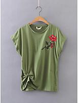 Feminino Camiseta Para Noite Casual Sensual Simples Moda de Rua Verão,Floral Bordado Algodão Decote Redondo Manga Curta Fina Média