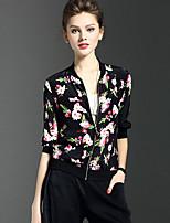 Feminino Polo Casual Moda de Rua Primavera Verão,Floral Poliéster Colarinho Chinês Manga ¾ Fina