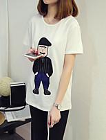 Feminino Camiseta Casual Simples Verão,Estampado Algodão Decote Redondo Manga Curta Fina