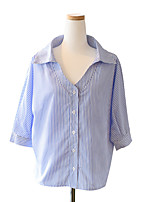 Women's Holiday Cute Summer T-shirt,Striped V Neck ½ Length Sleeve Polyester Thin