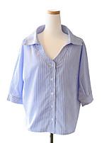 Damen Gestreift Niedlich Urlaub T-shirt,V-Ausschnitt Sommer ½ Länge Ärmel Polyester Dünn
