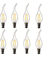 3.5 E14 LED-kynttilälamput CA35 4 COB 400 lm Lämmin valkoinen Koristeltu AC 220-240 V 8 kpl