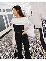 Women's Casual/Daily Simple Spring Blouse Pant Suits,Solid Off Shoulder ¾ Sleeve Cotton