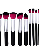 10Pcs Black And Silver Makeup Brush Red And Black Brush Head