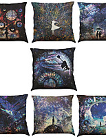 Set of 7 Time and Space Pattern Linen  Cushion Cover Home Office Sofa Square  Pillow Case Decorative Cushion Covers Pillowcases As a Gift