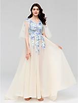 Evento Formal Vestido - Transparente Linha A Decote V Cauda Escova Tule com Apliques Detalhes em Cristal Faixa