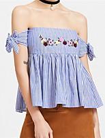 Для женщин На каждый день Пляж Лето Рубашка Вырез лодочкой,Секси Полоски С короткими рукавами,Хлопок,Тонкая