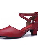 Non Customizable Women's Dance Shoes Leatherette Leatherette Latin Sandals Low Heel Practice Beginner Professional Indoor PerformanceDark