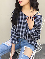 Women's Casual/Daily Simple Shirt,Striped V Neck Long Sleeve Cotton Thin