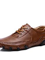 Черный Коричневый-Для мужчин-Для прогулок Повседневный Для занятий спортом-Кожа-На плоской подошве-Удобная обувь-Спортивная обувь