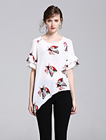 8CFAMILY Women's Going out Casual/Daily Simple Cute Street chic Summer T-shirtPrint Round Neck  Length Sleeve Silk Thin