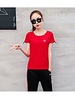 Women's Going out Casual/Daily Sports Simple Active T-shirt Pant Suits,Solid Round Neck Short Sleeve