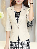 Women's Going out Simple Summer Blazer,Solid Shirt Collar Half-Sleeve Short Others