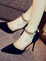 Femme-Décontracté-Noir Rouge Vert-Talon Aiguille-Confort-Chaussures à Talons-Daim